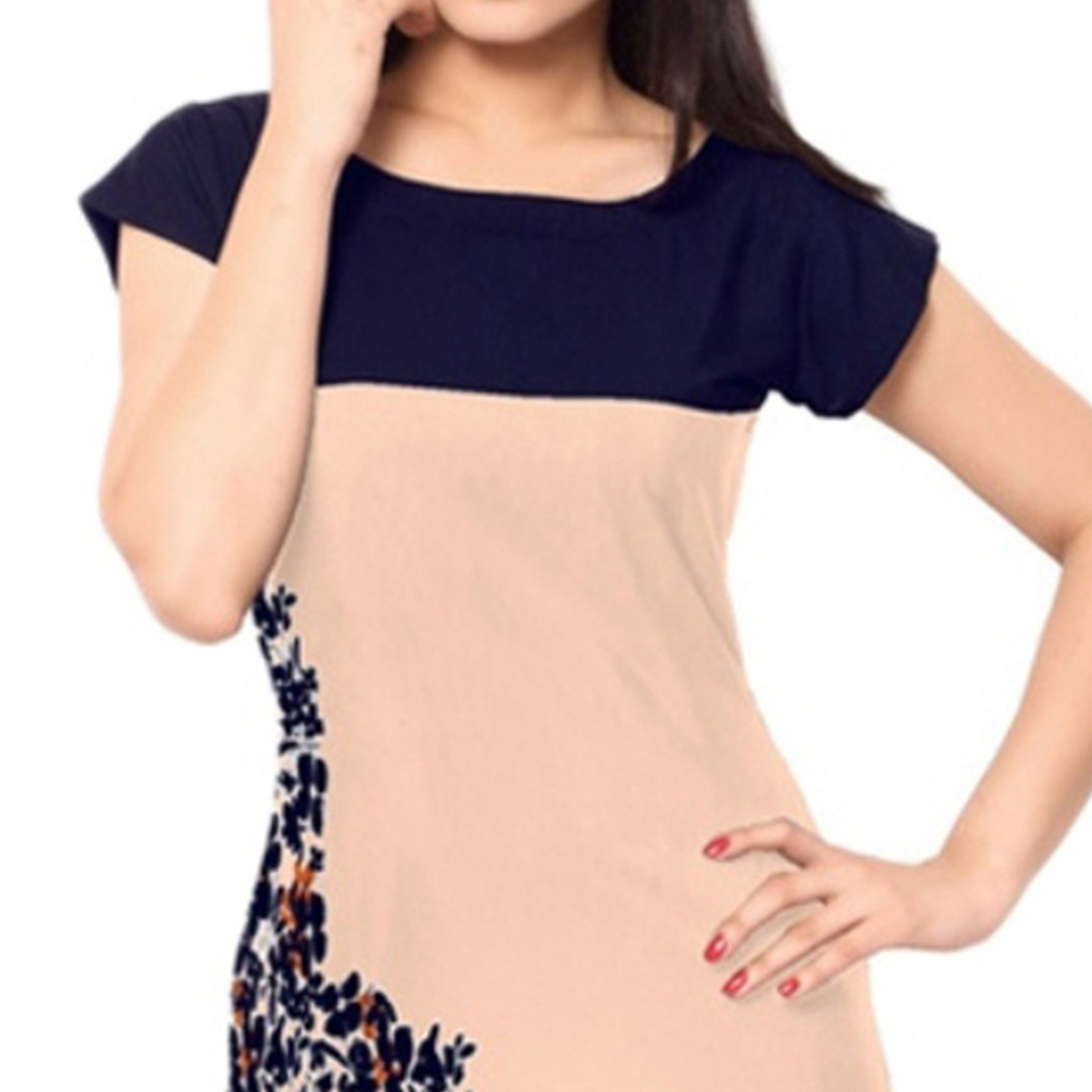 Peach-Navy Blue Colored Casual Printed Kurti