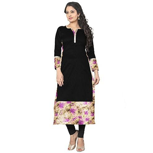 Black Colored Casual Printed Kurti