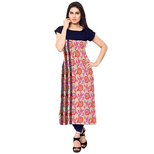 Navy Blue-Pink Colored Floral Printed Kurti