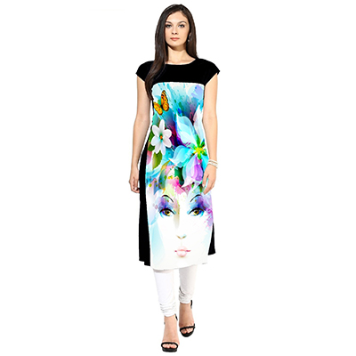 White-Black Colored Printed Kurti