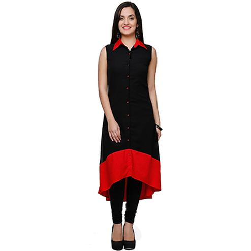 Black Colored Casual Satin Kurti