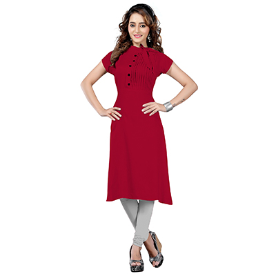Maroon Colored Casual Rayon Kurti