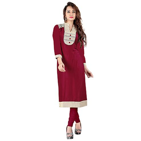 Pink Colored Casual Rayon Kurti