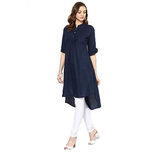 Navy Blue Colored Casual Rayon Kurti
