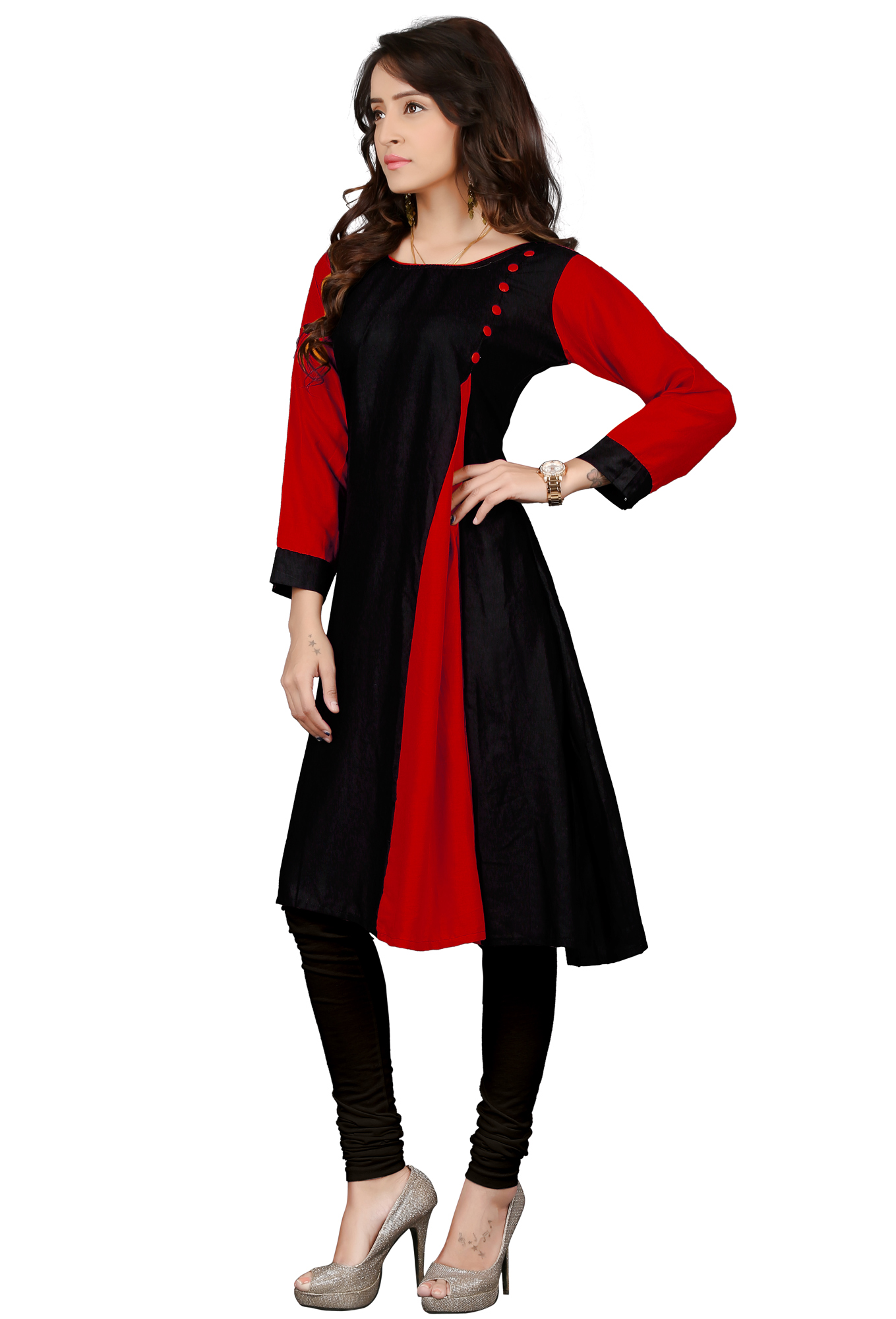 Black-Red Colored Casual Rayon Kurti