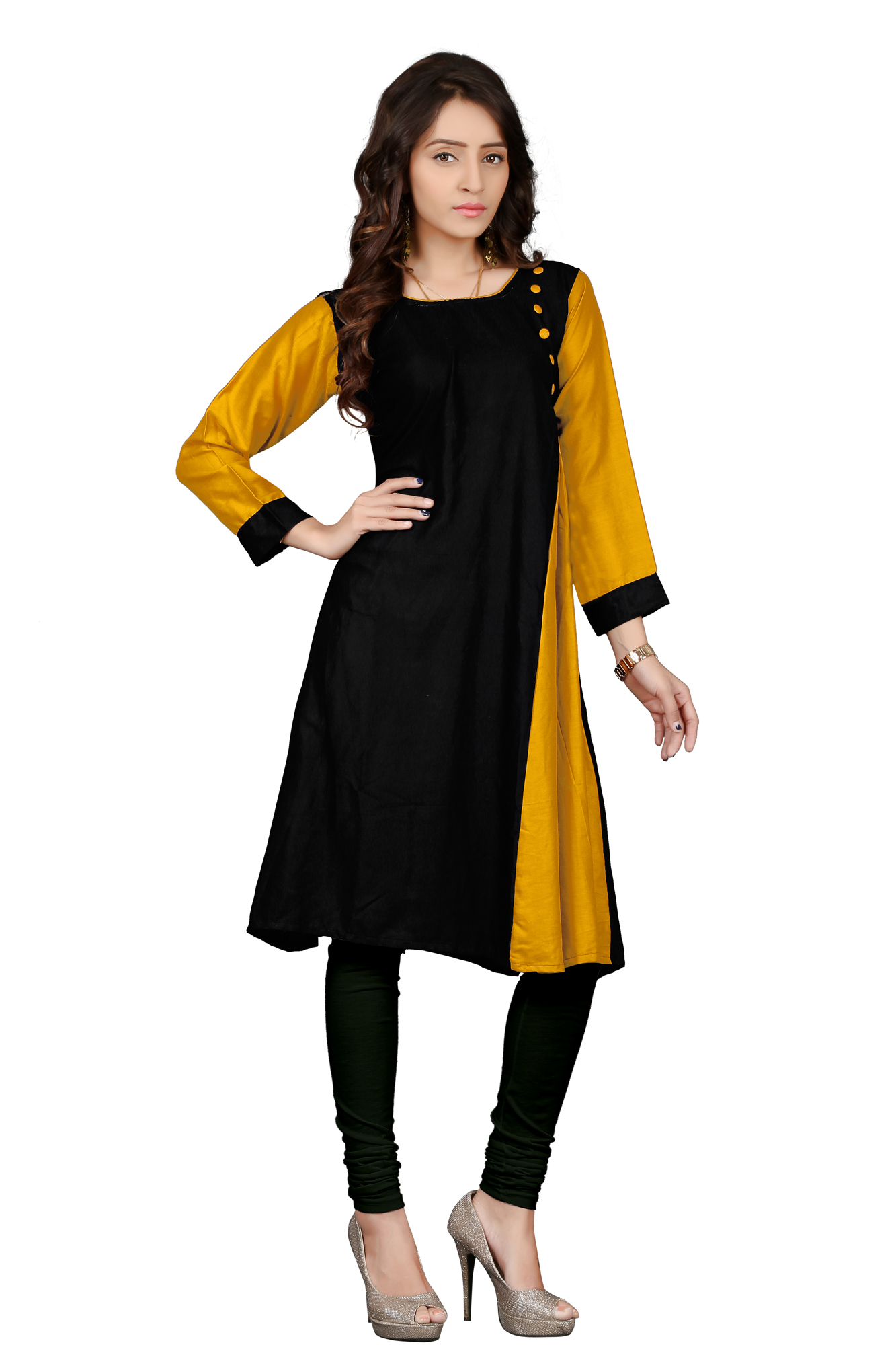 Black-Yellow Colored Casual Rayon Kurti