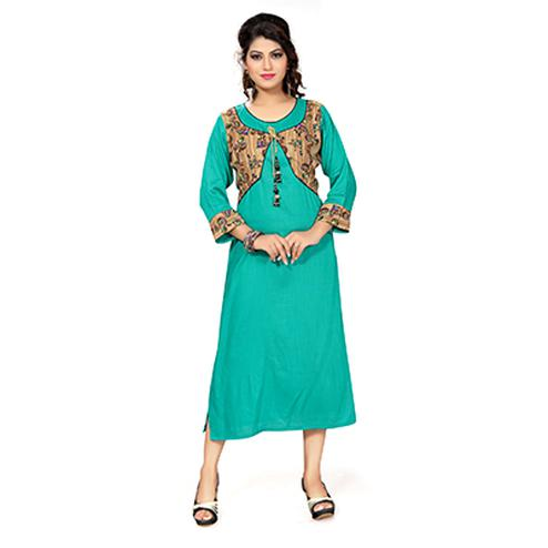Turquoise Green Colored Casual Crepe Kurti