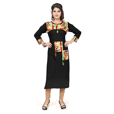 Black Colored Casual Cotton Kurti