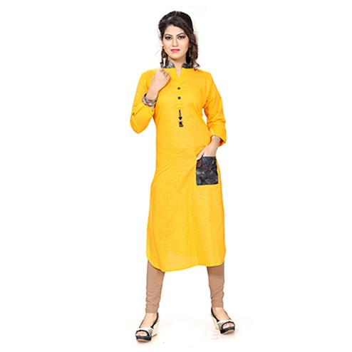 Yellow Colored Casual Cotton Kurti