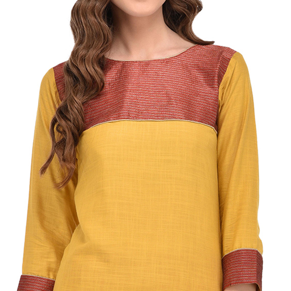 Yellow Colored Casual Rayon Kurti