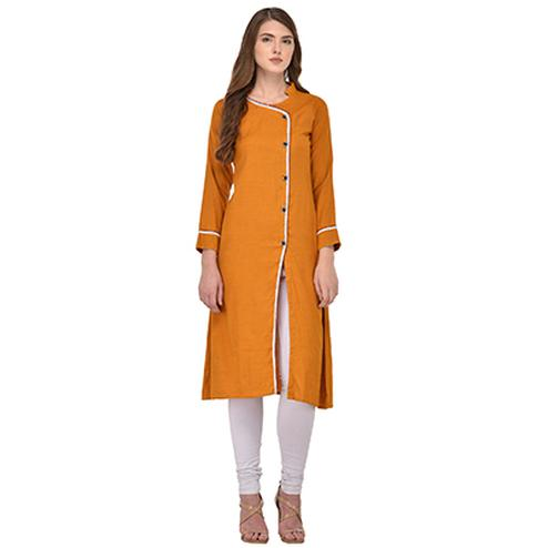 Mustard Yellow Colored Casual Rayon Kurti