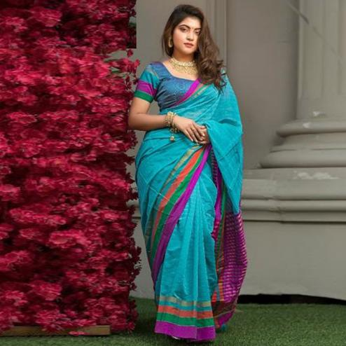 Lovely Blue Colored Festive Wear Woven Cotton Saree