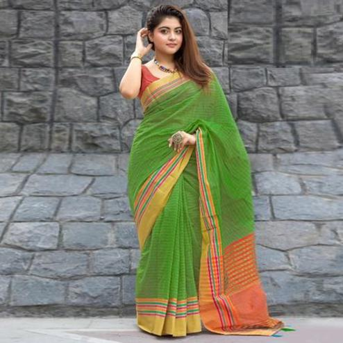 Ravishing Green Colored Festive Wear Woven Cotton Saree