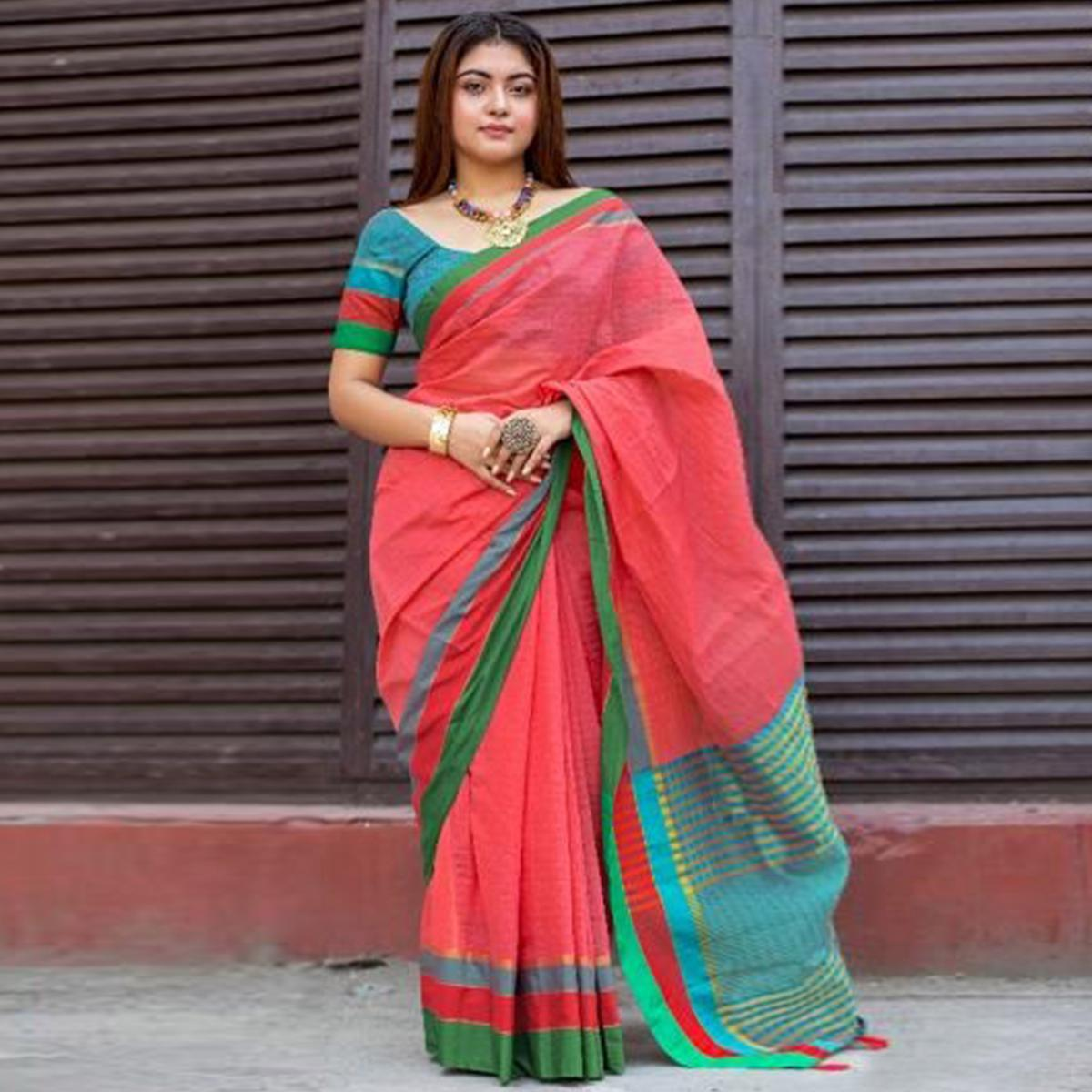 Surpassing Red Colored Festive Wear Woven Cotton Saree