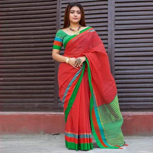 Intricate Red Colored Festive Wear Woven Cotton Saree
