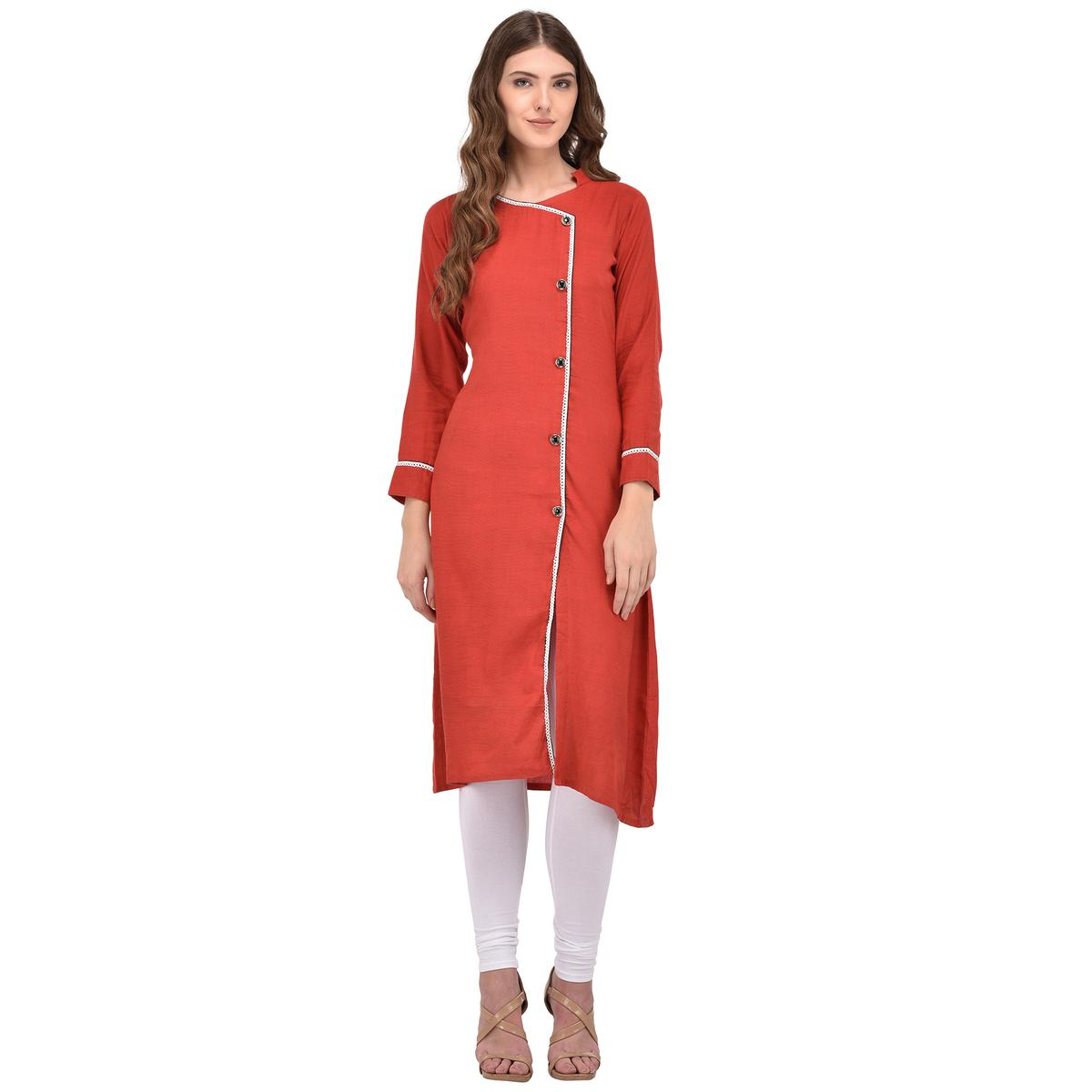 Orange Colored Casual Rayon Kurti