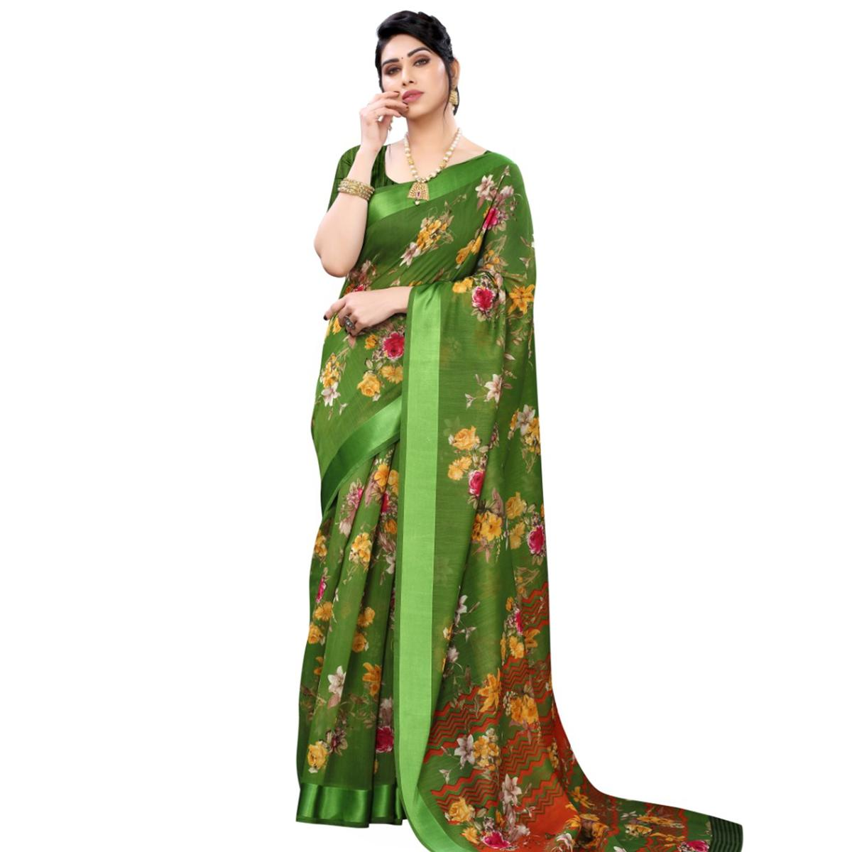 Desirable Green Colored Casual Wear Floral Printed Linen Saree