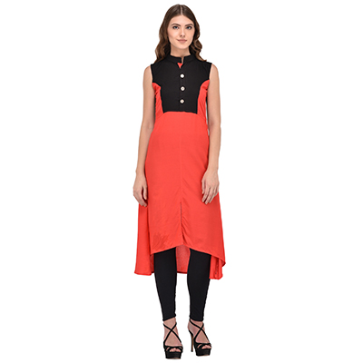 Orange-Black Colored Casual Rayon Kurti