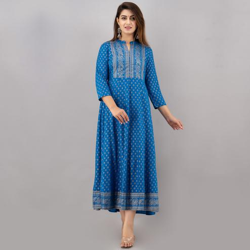 TrendMe - Blue Colored Rayon Gold Printed Anarkali Kurti with Handwork