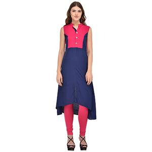 Navy Blue-Pink Colored Casual Rayon Kurti