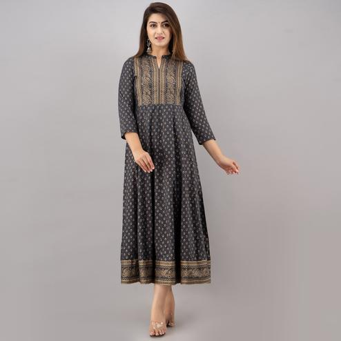 TrendMe - Grey Colored Rayon Gold Printed Anarkali Kurti with Handwork