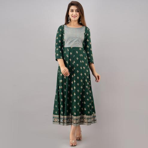 TrendMe - Green Colored Rayon Gold Printed Anarkali Kurti with Handwork