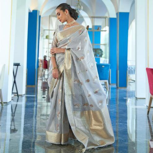 Adorable Grey Coloured Partywear Tissue Zari Organza weaving Saree