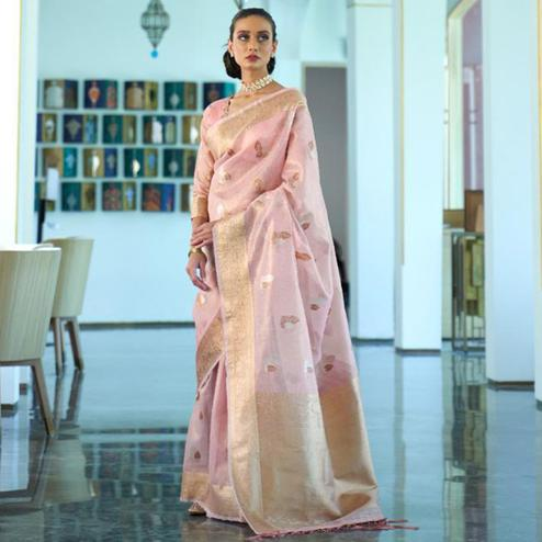 Arresting Pink Coloured Partywear Tissue Zari Organza weaving Saree