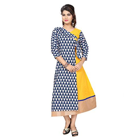 Yellow Colored Printed Fancy Kurti