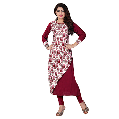 Maroon Colored Casual Printed Kurti