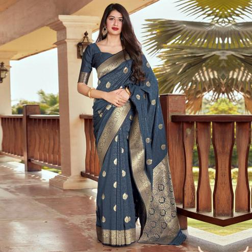 Captivating Dark Grey Coloured Partywear Woven Silk Saree