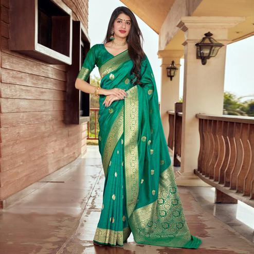 Adorning Green Coloured Partywear Woven Silk Saree