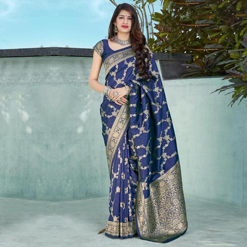 Prominent Navy Blue Coloured Partywear Woven Silk Saree