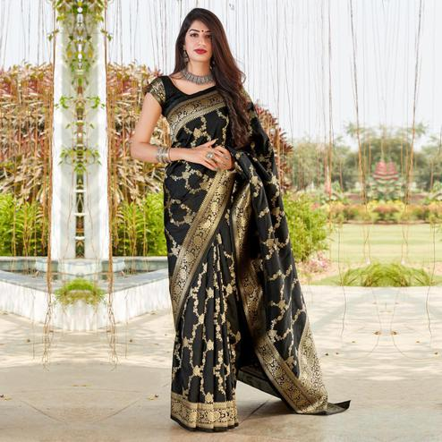 Beautiful Black Coloured Partywear Woven Silk Saree