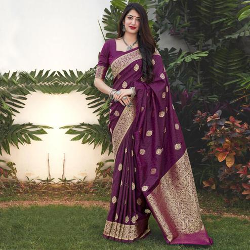 Blooming Purple Coloured Partywear Woven Silk Saree
