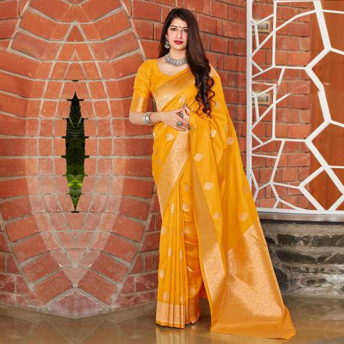 Ravishing Yellow Coloured Partywear Woven Silk Saree
