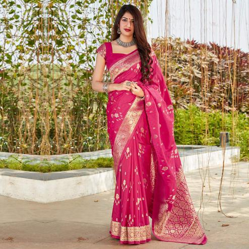 Fantastic Pink Coloured Partywear Woven Silk Saree