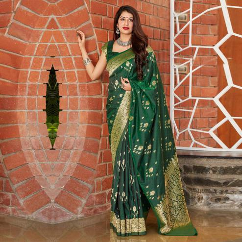 Majesty Green Coloured Partywear Woven Silk Saree