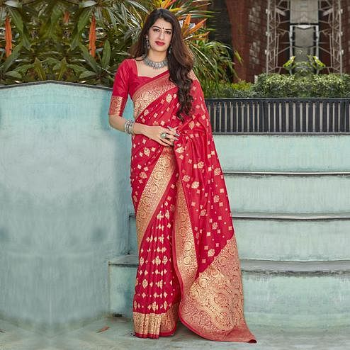 Ethnic Red Coloured Partywear Woven Silk Saree