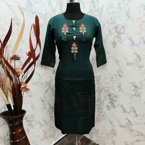 Groovy Dark Green Colored Casual Wear Embroidered Cotton Kurti
