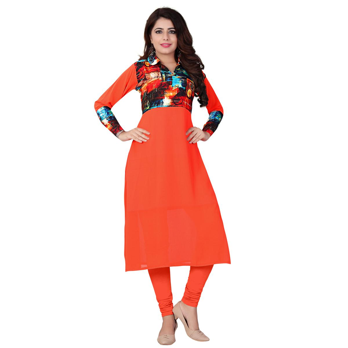 Orange Colored Casual Printed Kurti
