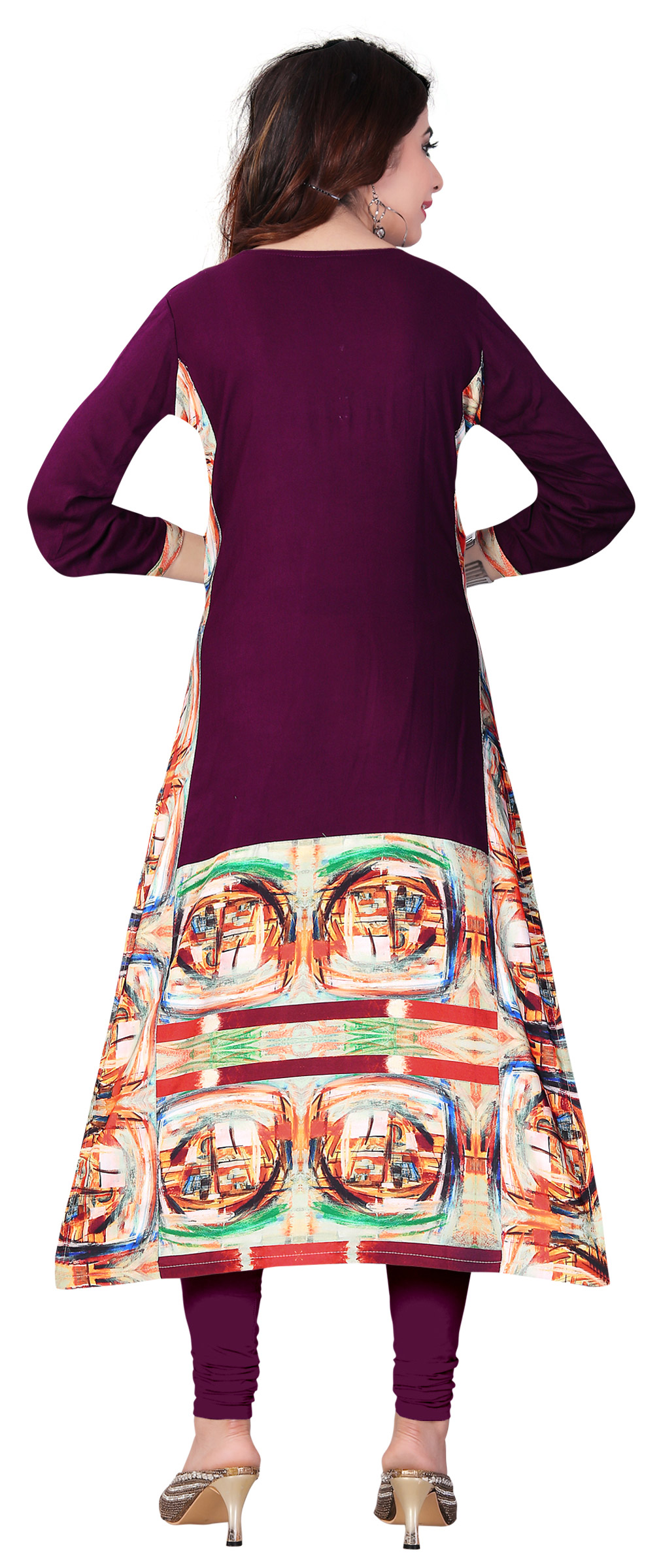Purple Colored Casual Printed Kurti