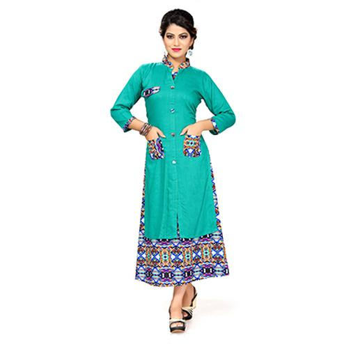 Turquoise Green Colored Printed Kurti