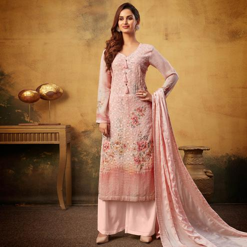 Eye-catching Peach Colored Embroidered With Digital Printed Partywear Viscose Bemberg Georgette Palazzo Suit