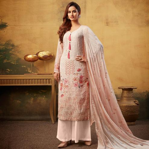 Amazing Light Pink Colored Embroidered With Digital Printed Partywear Viscose Bemberg Georgette Palazzo Suit
