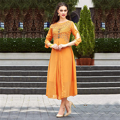 Yellow Embroidered Work Fancy Kurti