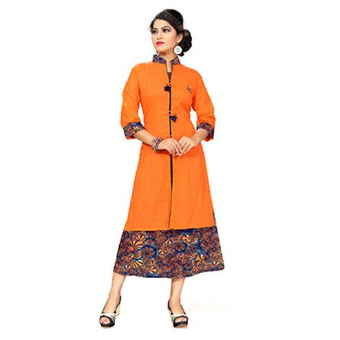 Orange Colored Printed Kurti