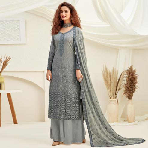 Desirable Grey Colored Embroidered With Digital Printed Partywear Pure Viscose Chinnon Chiffon Palazzo Suit