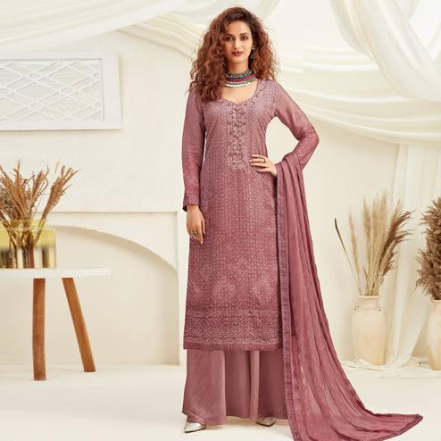Exotic Mauve Colored Embroidered With Digital Printed Partywear Pure Viscose Chinnon Chiffon Palazzo Suit
