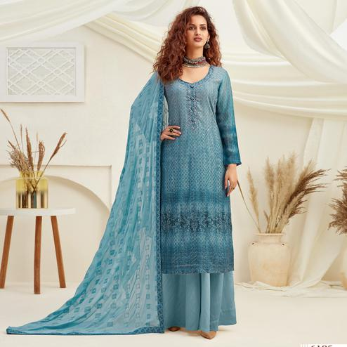 Sophisticated Blue Colored Embroidered With Digital Printed Partywear Pure Viscose Chinnon Chiffon Palazzo Suit